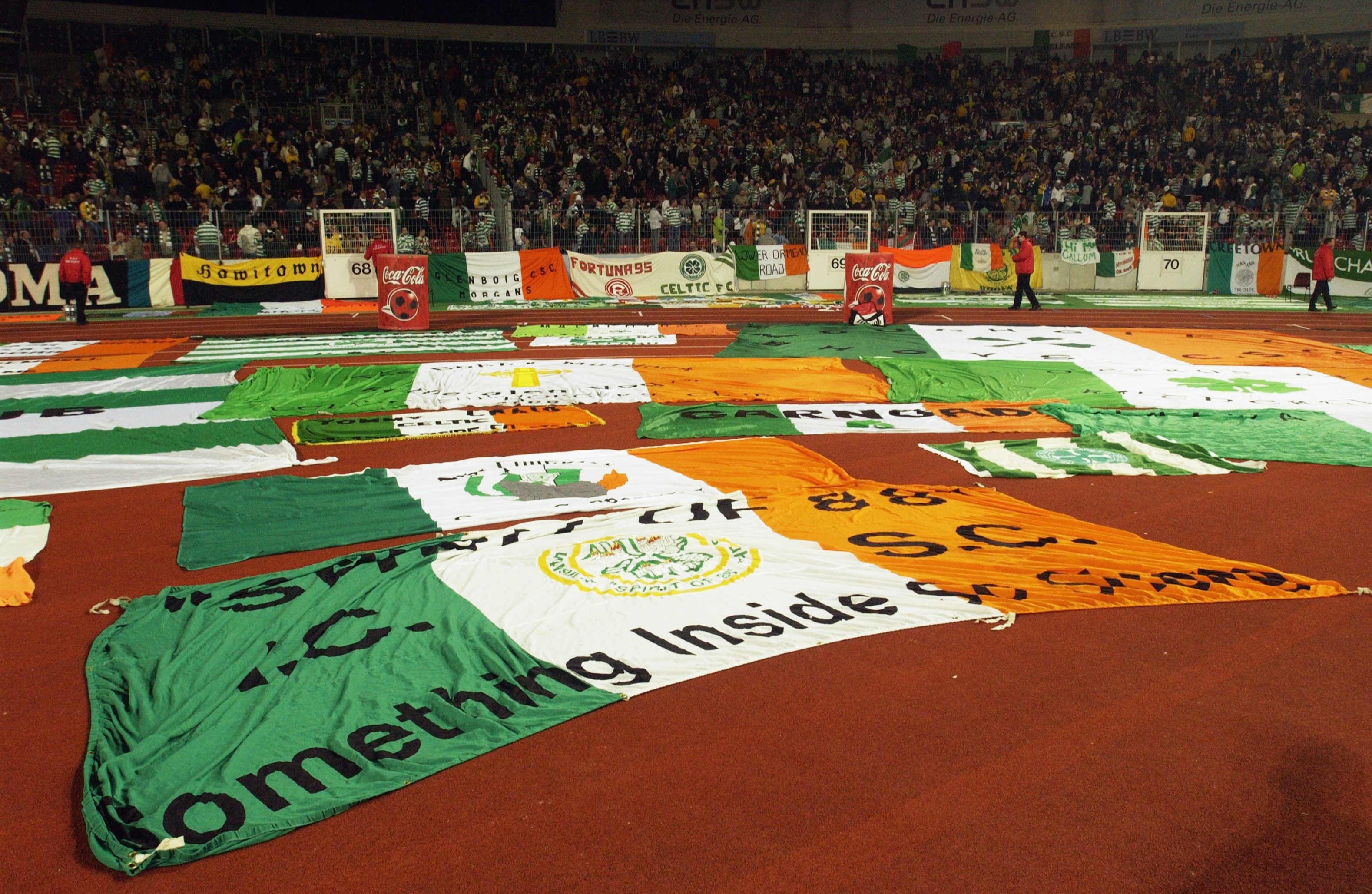 Tricolour CSC Banners Displayed During The UEFA Cup Fourth Round Second Leg Match Between VFB Stuttgart And Celtic In 2003 Photo By Stuart Franklin Getty